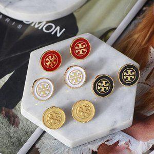 Tory Burch Enamel Exaggerated Disc Earrings